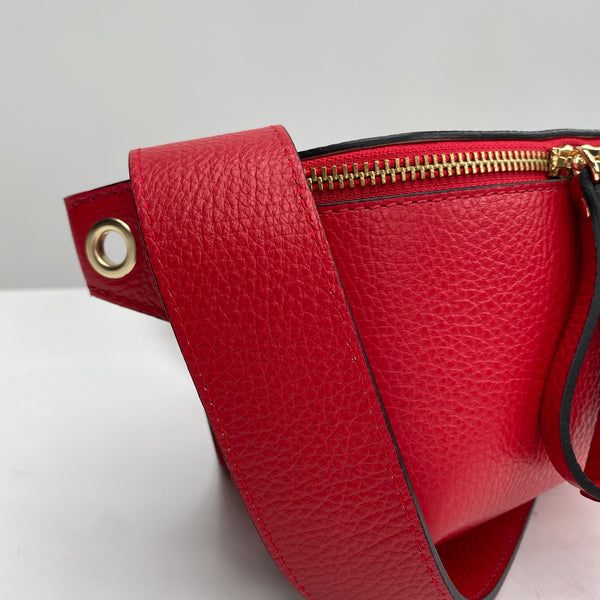Red Leather Small Box Bag