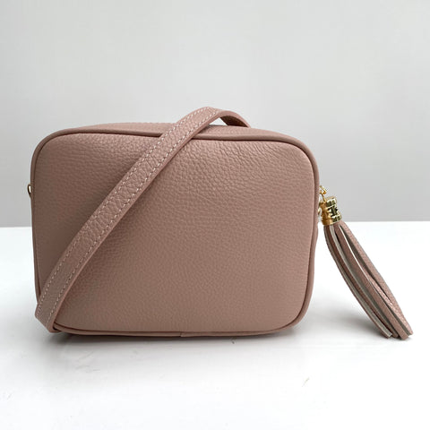 Rose Pink Leather Tassel Cross Body Bag