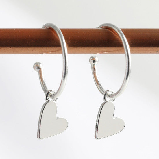 Silver Falling Hearts Earrings