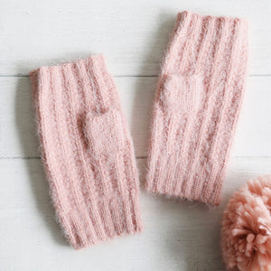 Soft Pink Knit Hand Warmers