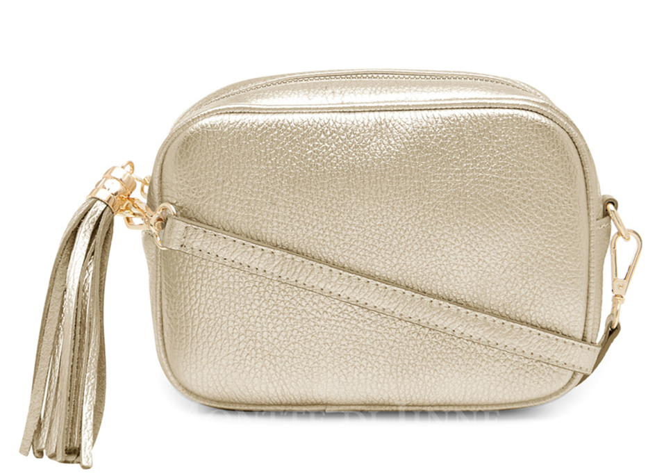 Gold Leather Tassel Cross Body Bag