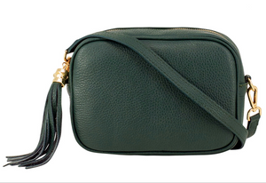 Olive Green Leather Tassel Cross Body Bag