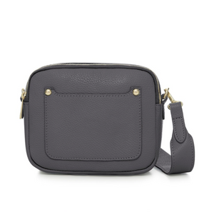 Dark Grey Leather Double Zip Cross Body Bag