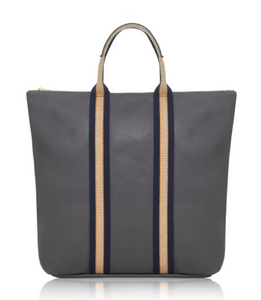 Dark Grey Leather Tote Backpack