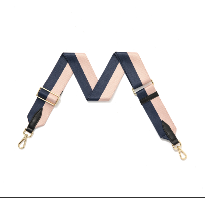 Navy and Blush Stripe Bag Strap