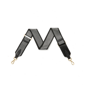 Black with Silver Chevron Bag Strap