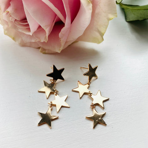 Small Gold Star Drop Earrings