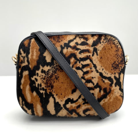Snakeskin print leather Bag in cowhide with strap