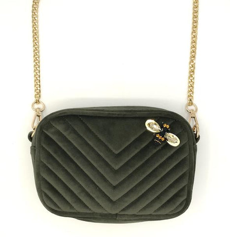 Olive Velvet Cross Body Bag
