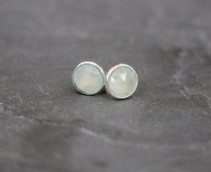 Green Prehnite Sterling Silver Stud Earrings