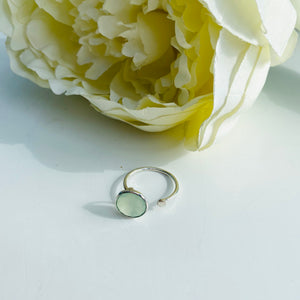 Green Prehnite Sterling Silver Adjustable Ring