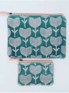 Teal Blue and Pink Tulip Velvet Pouch (two sizes available)