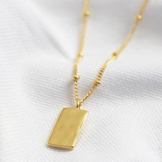 Tiny Hammered Tag Pendant Necklace