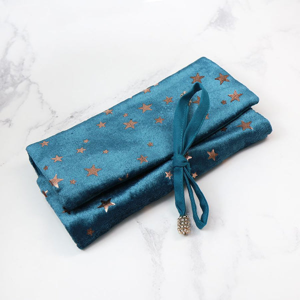 Teal Velvet Star Print Jewellery Roll