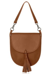 Tan Leather Cross Body Tote Bag