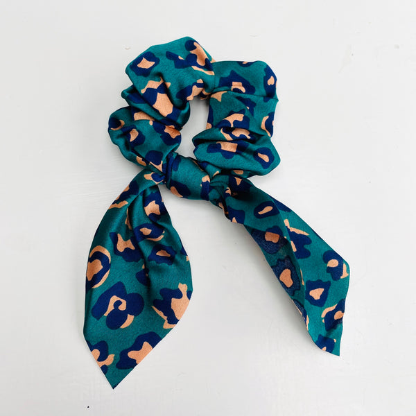 teal and pink Leopard Print Scarf Scrunchie - Cut out