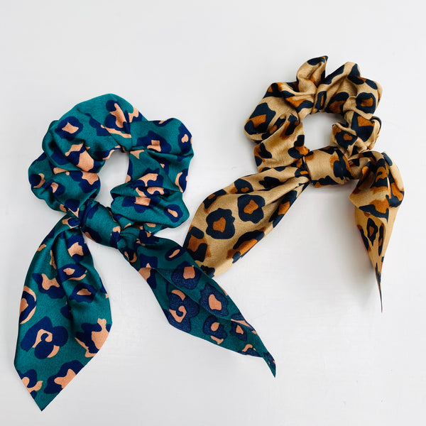 teal and pink and Camel and Black Leopard Print Scarf Scrunchie - Cut out