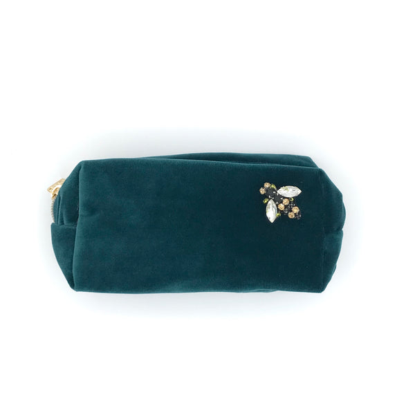 Teal Velvet Make Up Bag Small sixton