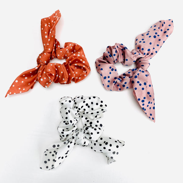 White and black, pink and navy and terracotta polka scarf scrunchie