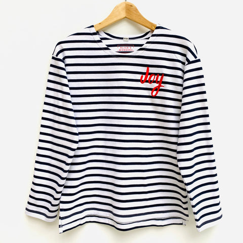 Joy Embroidered Breton Tee (White / Navy or Navy / White)