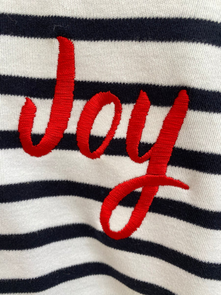 Joy Embroidered Breton Tee - White/Navy. Immediate Despatch.
