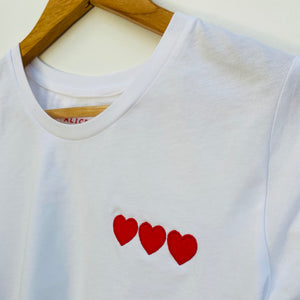 Embroidered White Tee (Triple Heart or Joy) PRELAUNCH