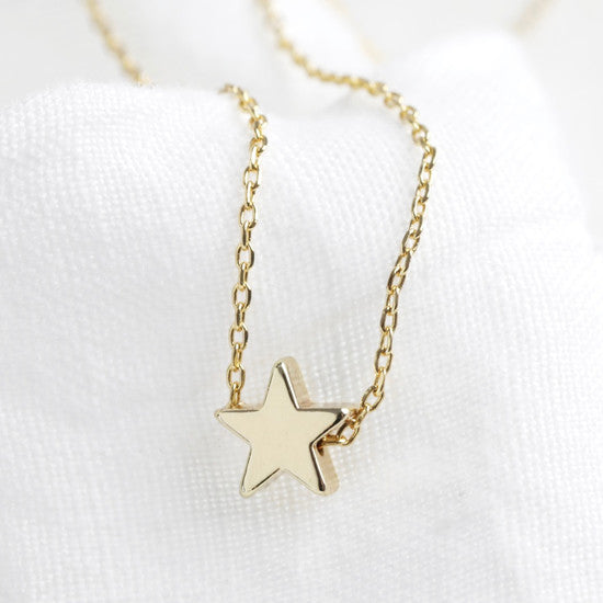 Gold Star Bead Necklace