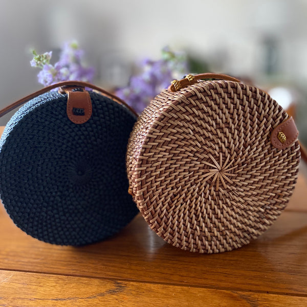 Circle Basket Bag in Black