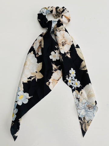 Black Floral Scarf Scrunchie