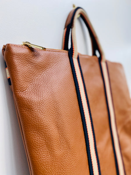 Tan Leather Tote Backpack