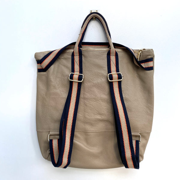 Taupe Leather Tote Backpack
