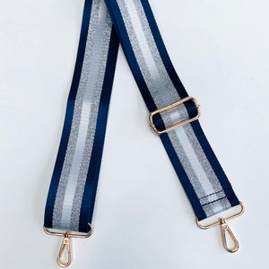 navy blue and silver stripe bag strap