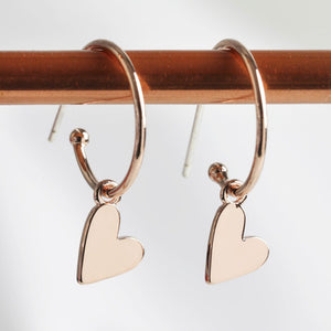 Rose Gold Falling Hearts Earrings