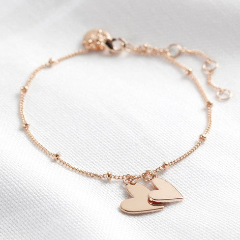 Rose Gold Falling Hearts Bracelet