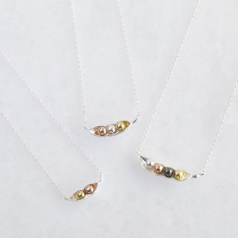 Silver Peas in a Pod Necklace (two, three and four peas)