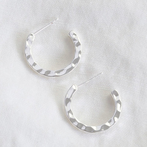 Hammered Silver Hoop Earrings from Lisa Angel at Alice's Wonders