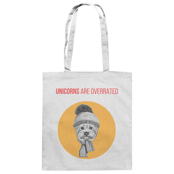 """Unicorns are overrated"": Baumwolltasche mit Hipster-Yorkshire - wauwau-wow.com"