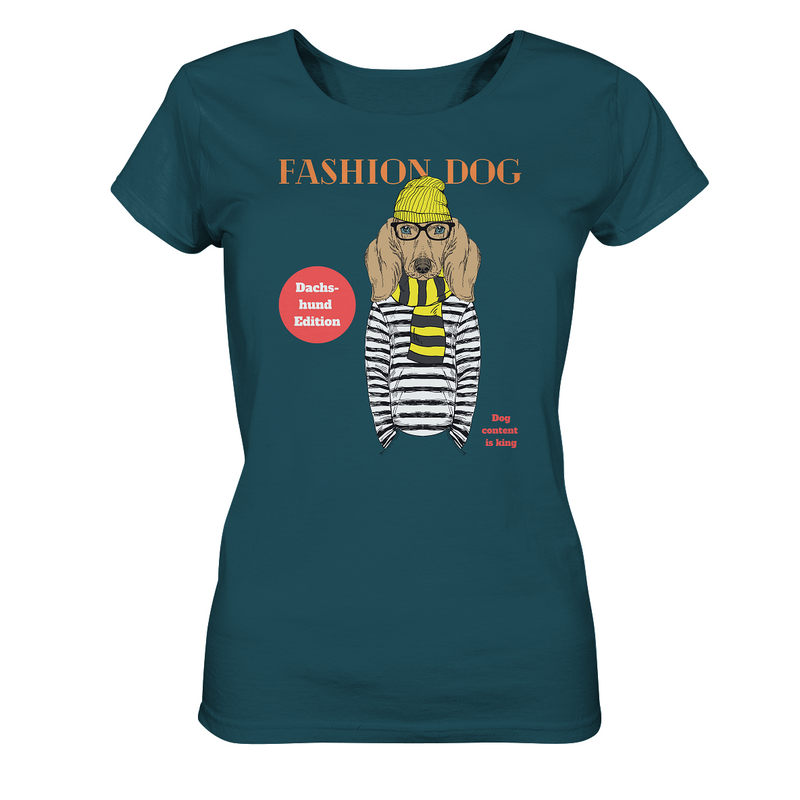 """Fashion Dog"": Organic Damen-Shirt mit Dackel-Hipster-Motiv - wauwau-wow.com"