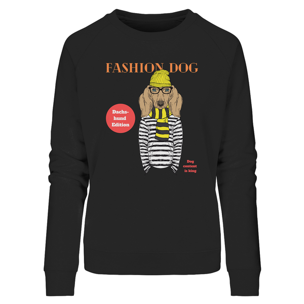 """Fashion Dog"": Organic Damen-Sweatshirt mit Dackel-Hipster-Motiv - wauwau-wow.com"