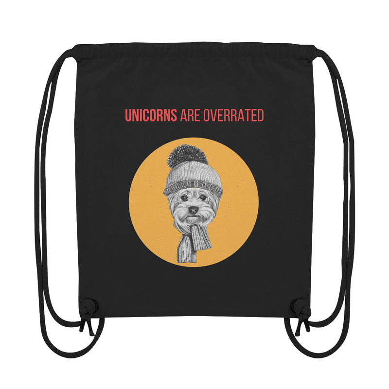 """Unicorns are overrated"": Organic Gym Bag mit Hipster-Yorkshire-Terrier - wauwau-wow.com"
