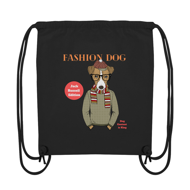 """Fashion Dog"": Organic Gym Bag mit Jack-Russell-Hipster-Motiv - wauwau-wow.com"