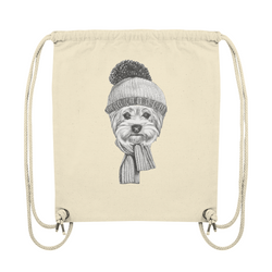 """Yorki-Winter"": Organic Gym Bag mit Yorkshire-Terrier-Motiv - wauwau-wow.com"