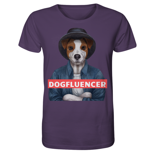 Dogfluencer: Organic T-Shirt (Unisex) mit Parson (Jack) Russell Terrier im Hipsterstyle - wauwau-wow.com