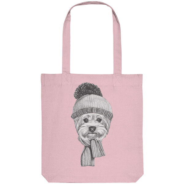 """Yorki-Winter"": Organic Tote Bag mit Yorkshire-Terrier-Motiv - wauwau-wow.com"