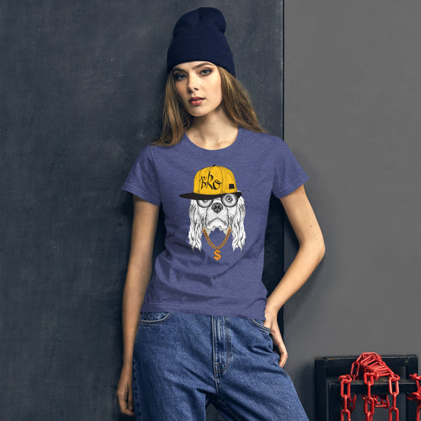 Damen-T-Shirt mit origineller HipHop-Spaniel-Illustration - wauwau-wow.com