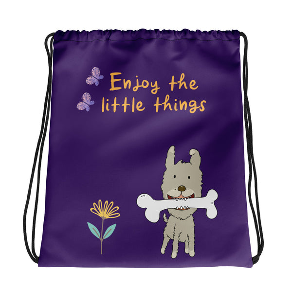 """Enjoy the little things"": Kordelzugtasche als Turnbeutel für Kinder - wauwau-wow.com"