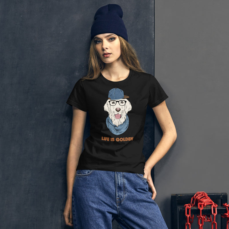 "Damen-T-Shirt mit ""Life is Golden""-Retriever-Motiv - wauwau-wow.com"