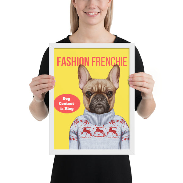 Gerahmtes Poster mit Hipster-Bulldogge (30 x 40 cm) - wauwau-wow.com