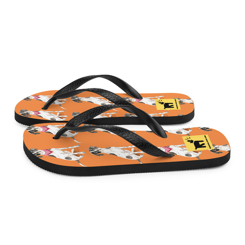 Flip-Flops mit English-Pointer-Motiv (orange, Gr. 36-44) - wauwau-wow.com