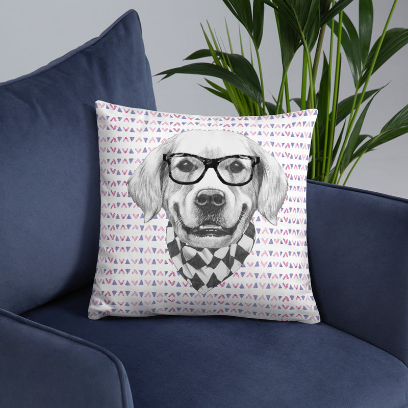 Deko-Kissen mit Golden-Retriever-Motiven (Chevron-Muster) - wauwau-wow.com
